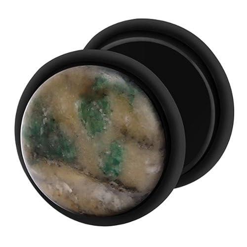 Dilatador Falso Piercing Plug Negro, Pendiente, Piedra Jadelita ...