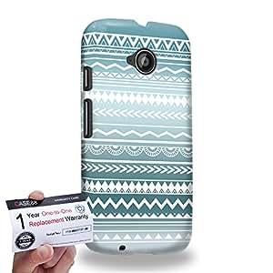 Case88 [Motorola Moto E (2nd Gen)] 3D impresa Carcasa/Funda dura para & Tarjeta de garantía - Art Aztec Design Trend Mix Cyan Mix