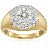 Men's Sterling Silver with Yellow Gold Plating White Cubic Zirconia Gents Ring, Size 10.5