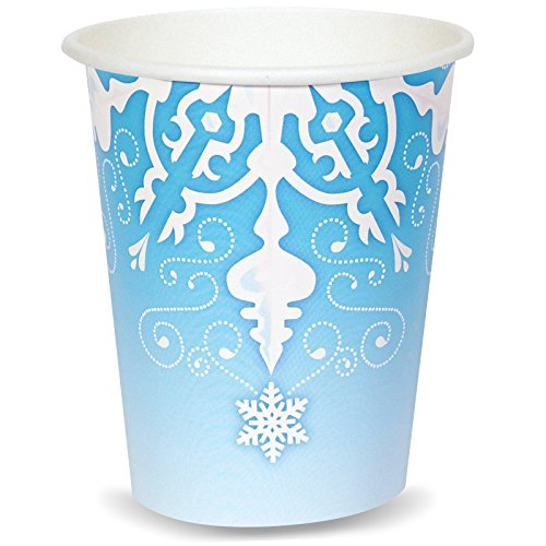 BirthdayExpress Snowflake Winter Wonderland Christmas Party Supplies - 9 oz. Cups (8) -