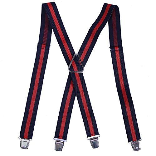 HDE X-Back Suspenders for Men Adjustable Clip-On Elastic Shoulder Strap Braces (Navy Blue with Red Stripe, 42 inches) ()