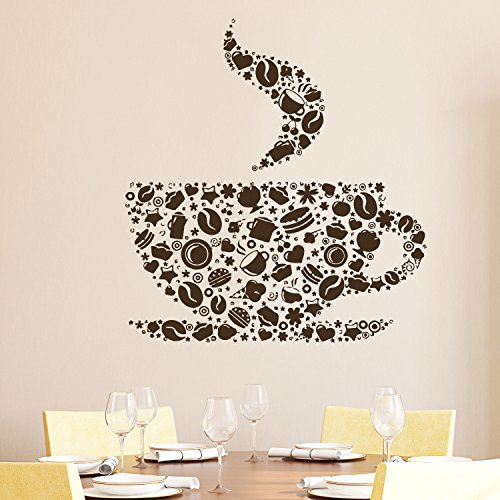 Cup of Coffee Wall Decal Cafe Dining Vinyl Stickers Murals Modern Interior  Kitchen Coffee Shop Home Decor Art Design Interior NS489