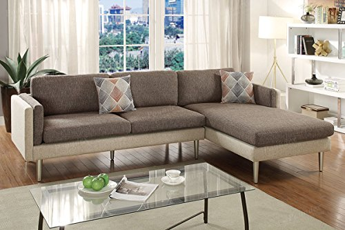 2Pcs Modern Coffee / Platinum Cotton Blended Fabric Reversible Chaise Sofa  Set With Accent Pillows