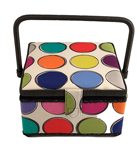 Medium Square Sewing Basket Box with Tray 9x9x5 with Sewing Notions Included (Medium Square 9x9x5, Multicolored Circles with Notions) by Generic