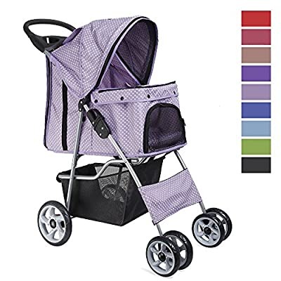 Flexzion Pet Stroller Dog Cat Small Animals Carrier Cage 4 Wheels Folding Flexible Easy Walk for Jogger Jogging Travel Up to 30 Pounds With Rain Cover Cup Holder and Mesh Window from Flexzion