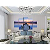2016 Modern Seascape Canvas Print Landscape Blue Sky Canvas Oil Painting Wooden Bridge Sunset Wall Pictures For Living Room Decoration No Frame