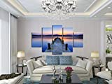 2017 Unframed Modern Seascape Canvas Print Landscape Blue Sky Canvas Oil Painting Wooden Bridge Sunset Wall Pictures For Living Room Decoration No Frame Size:20x30cm x2,20x50cm x2,20x60cm x1