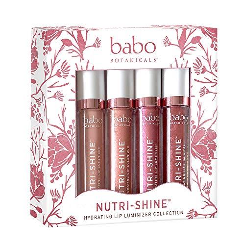 Babo Botanicals Nutri-Shine Luminizer Vegan Lip Gloss Gift Set, Natural Mint, 0.56 Ounce