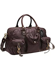 Iblue Waterproof Canvas Leather Travel Weekender Bag Overnight Shoulder Handbag #10185
