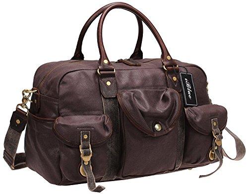 Iblue Waterproof Canvas Leather Travel Weekender Bag Overnight Messenger Shoulder Handbag ()