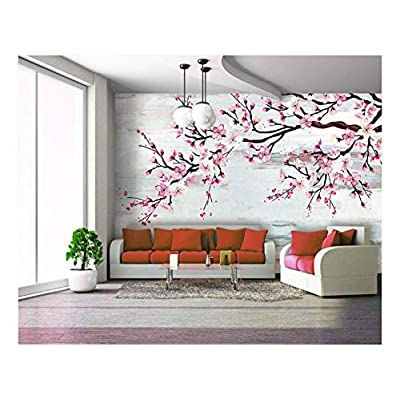 Gorgeous Technique, That's 100% USA Made, Large Wall Mural Watercolor Style Ink Painting Pink Cherry Blossom on Abstract Background Vinyl Wallpaper Removable Wall Decor