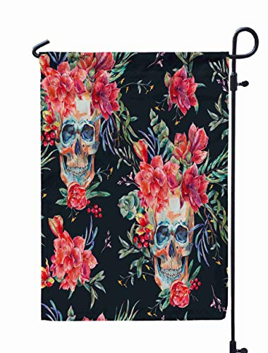 GROOTEY Welcome Outdoor Garden Flag Home Yard Decorative 12X18 Inches Watercolor Pattern Skull Red Flower Green Tropical Leaves Succulents Floral Botanical Natural Double Sided Seasonal Garden Flags