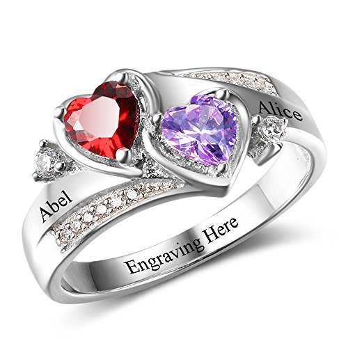 Diamondido Personalized Simulated Birthstones Promise Rings for Her Engraved Names Engagement Rings Bridesmaid Gifts (7)