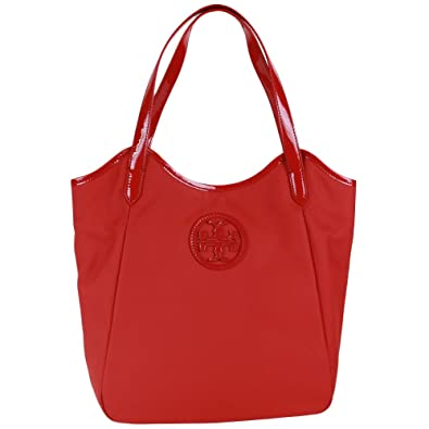 7a01a21ed22 Tory Burch Dipped Canvas Stacked Logo Tote Berry Red  Handbags  Amazon.com