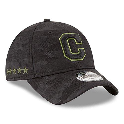 NEW ERA OFFICIAL MLB 2018 Memorial Day 9TWENTY Adjustable Dad Hat (Strap) – Black/Black (Cleveland Indians) -