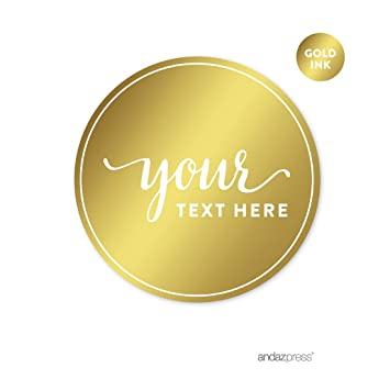 Andaz press fully personalized round circle label stickers metallic gold ink solid gold