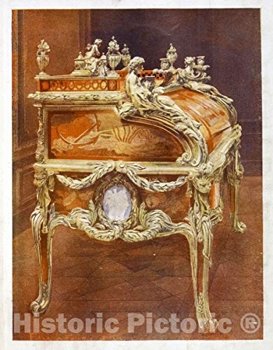 Historic Pictoric 1910 Print | Bureau du roi Louis XV. French tansitional Louis XV-XVI style. Commenced in 1760 | Vintage Wall Art | 36in x 44in