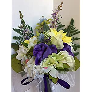 GRAVE DECOR - CEMETERY MARKER - FUNERAL ARRANGEMENT - MEMORIAL ARRANGEMENT - FLOWER VASE - WHITE, GREEN, PINK HYDRANGEA, PURPLE POPPIES, YELLOW MUMS, PURPLE LILAC, BLUE FLOWER BALLS 98