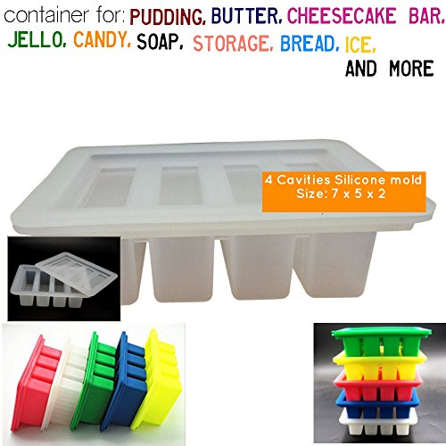Large 4 Cavities Silicone butter mold,Pudding and Jello Shot Mold, Bread, Cheesecake, Bar,4-Cavity Silicone butter-mold with lid (1, white clear)