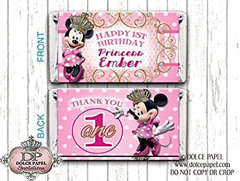 10 Princess MINNIE MOUSE Mini Hershey Bar Wrappers 1st Birthday Party ANY AGE Mini Hershey Candy Bar - Hersheys Mini Candy Bar Wrappers