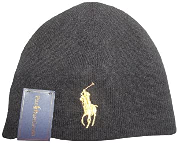 Image Unavailable. Image not available for. Colour  POLO Ralph Lauren  Merino Wool BIG PONY Beanie Black Skull Cap Gold Pony Ski Hat 363e6926c830