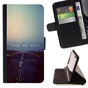 For HTC Desire 820 Case , Plano pista de despegue motivación de la cita- la tarjeta de Crédito Slots PU Funda de cuero Monedero caso cubierta de piel