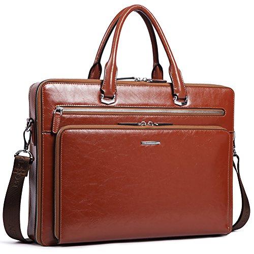 - BOSTANTEN Leather Briefcase Shoulder 15.6