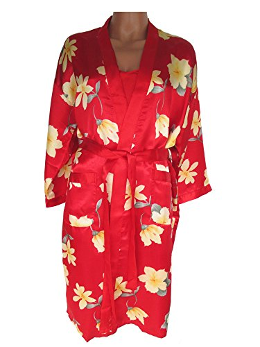 Edles Nachtwäsche-Set, Negligé + kurzer Kimono, rot mit Blumenmuster, AM-Da-LS-rotBL