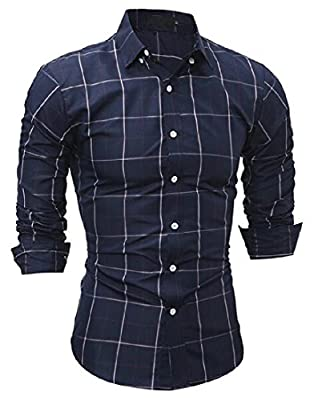 Winwinus Men's Plaid Business Button Down Turn-down Collar Tees Shirt