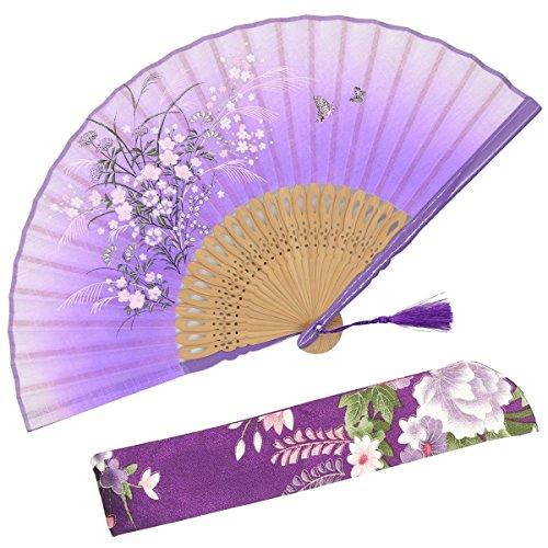 Oriental Folding Fans - OMyTea Grassflowers 8.27