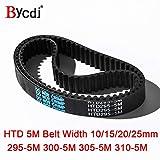 Fevas Arc HTD 5M Timing Belt C=295/300/305/310 width10/15/20/25mm Teeth 59 60 61 62 HTD5M synchronous Belt 295-5M 300-5M 305-5M 310-5 - (Width: 20mm, Length: 300mm Teeth 60, Number of Pcs: 2pcs)