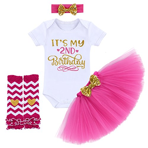 (It's My 1/2 / 1st / 2nd Birthday Outfit Baby Girls Romper + Ruffle Tulle Skirt + Sequins Bow Headband + Leg Warmers Socks Party Dress up Costume 4Pcs Photo Cake Smash Clothe Set Hot Pink 2 Years)