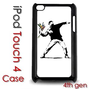 IPod Touch 4 4th gen Touch Plastic Case - Banksy Throwing Flowers Street Art