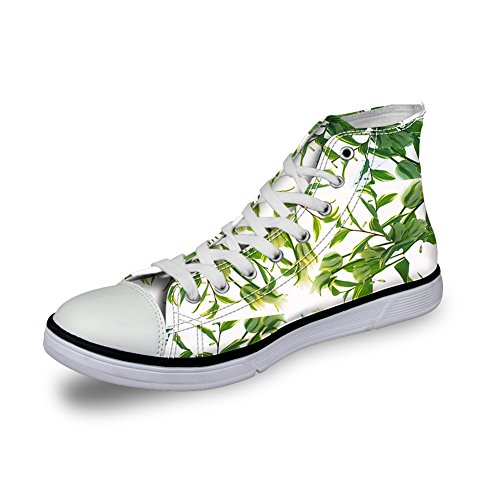 För U Designar Kvinnor Med Hög-top Tygskor Tropiska Blommönster Spets-up Fotled Sneakers Vita