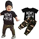 Matoen New child Toddler T-Shirt Tops + Camouflage Pants, (TM) Child Boy Letter Outfits Garments (6-12 Months)