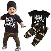Matoen Newborn Infant T-Shirt Tops + Camouflage Pants, (TM) Baby Boy Letter Outfits Clothes (6-12 Months)