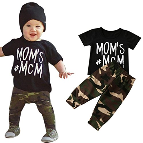 Newborn Boys Pant - Newborn Infant T-shirt Tops + Camouflage Pants, Matoen(TM) Baby Boy Letter Outfits Clothes (0-6 Months)