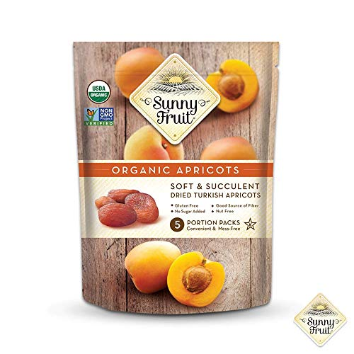 - ORGANIC Turkish Dried Apricots - Sunny Fruit - (5) 1.76oz Portion Packs per Bag | Purely Apricots - NO Added Sugars, Sulfurs or Preservatives | NON-GMO, VEGAN, HALAL & KOSHER