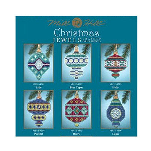 Christmas Jewels Beaded Counted Cross Stitch Ornaments 2014 Mill Hill (Set of 6: Berry, Blue Topaz, Holly, Jade, Lapis, Peridot) by Mill Hill