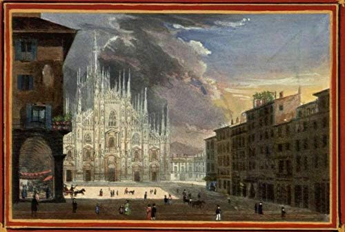 Milan Italy duomo Catholic cathedral 1840s lovely unique antique artistic print