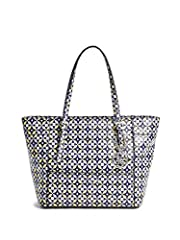 The new bag to have, this geo-print tote features silver-tone hardware, logo details and a spacious, pocket-filled interior that holds everything you need and more.