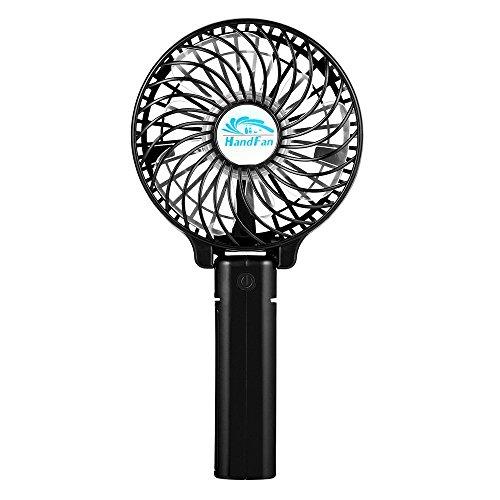 EasyAcc Handventilator Tragbarer Elektrischer Ventilator mit Aufladbarem 18650 Akku Zusammenklappbar Ideal für Regenschirm Hängend