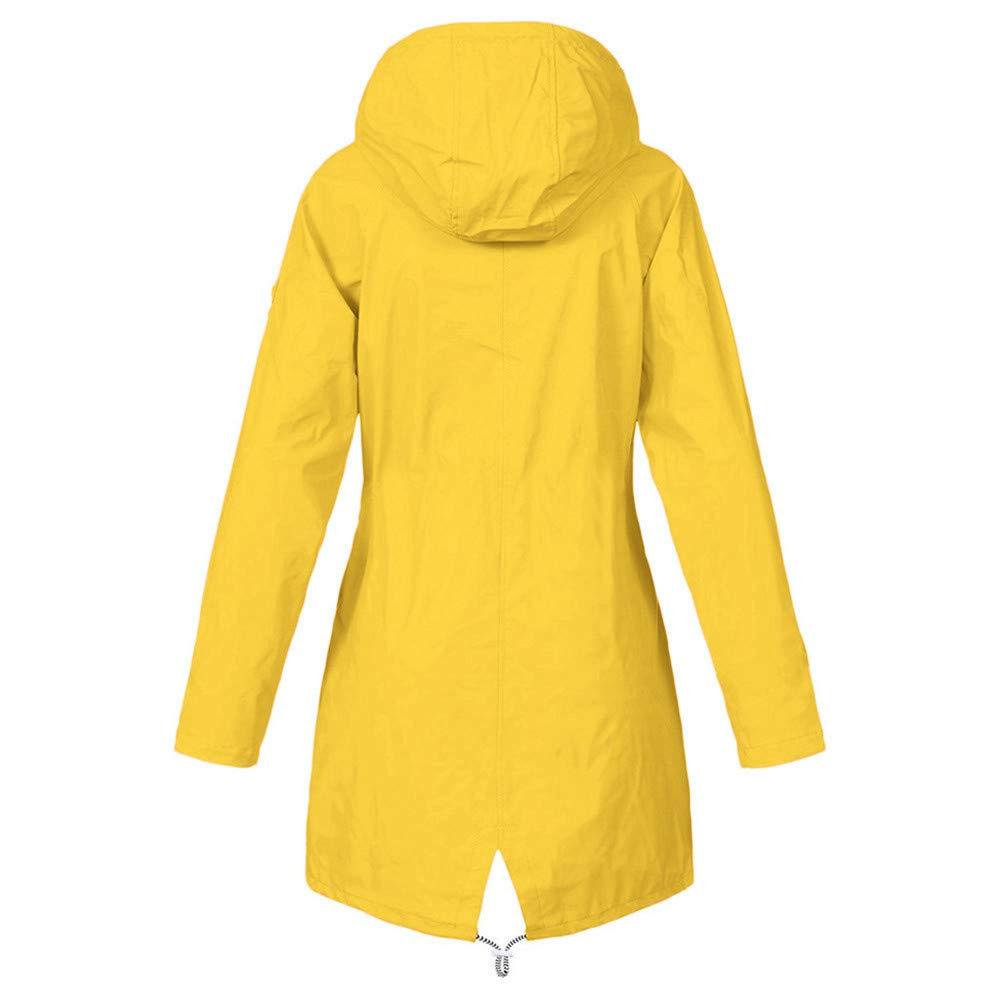 Aiserkly Women Winter Autumn Casual Daily Coats Ladies Solid Rain Jacket Outdoor Plus Waterproof Hooded Raincoat Windproof Windbreaker Parka Outwear UK Size 8-22