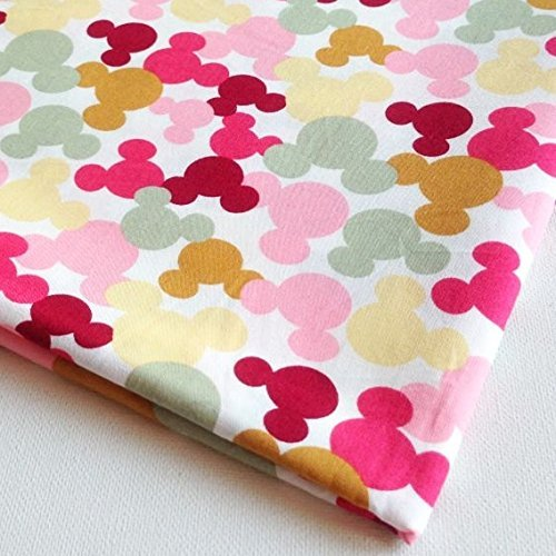 Mickey and Minnie Style Vi Pink Red Magenta Green Yellow on White 36 by 36-Inch Wide (1 Yard) (CT252) by NP Fabric   B00TQWI3VQ