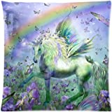 Unicorn of the Butterflies Custom Zippered Cushion Covers Pillow Cases 18x18 Inch (Twin sides) by EnjoyU