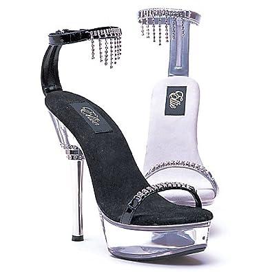 3715c78f5fe Ellie Shoes Women s 6 Inch Rhinestone Heel Sandal With Rhinestone Upper ( Black ...
