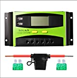 Sunix 20A 12V/24V Solar Charge Controller, Upgraded Intelligent Solar Charge Regulator with Battery Fuse, 2 USB Port Display, Overload Protection Temperature Compensation