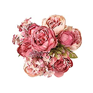 Shengyuan Artificial Flowers Fake Silk Peony Flower Bouquet Floral Plants Decor for Home Garden Wedding Party Decor Decoration 50