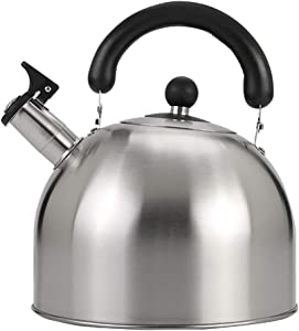 Whistling Cool Handle Tea Kettle Food Grade Stainless Steel Large Capacity Capsule Base Stove Teapot For Gas Stoves Induction Cooker Coffee And Tea Coffeemaker Pots