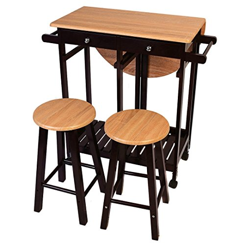 Kitchen Furniture Set Polling Cart Table Steel Frame Wooden Bar stools Indoor Outdoor Dining (Stowaway Barrel)